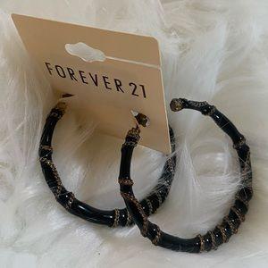 Forever 21 Chain Enamel Large Hoop Earrings